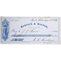 California. San Francisco. Hentsch & Berton Check, August 1, 1869.