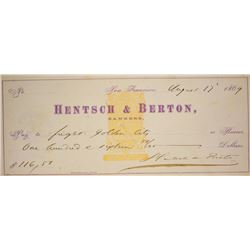 California. San Francisco. Hentsch & Berton, Bankers. Check, August 17, 1869.