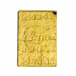 California. San Francisco (also Marysville). Justh & Hunter Gold Ingot. Weight: 23.00 Oz. Fineness: