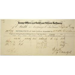 California. San Francisco. Assay Office and Gold and Silver Refinery of Emil Justh. Assay receipt, S