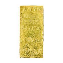 California. Kellogg & Humbert Assayers Gold Ingot. Weight: 54.07 Oz. Fineness: .909. Value: $1,016.0