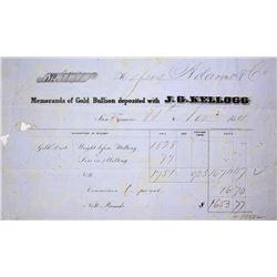 California. San Francisco. J.G. Kellogg. Gold bullion assay receipt, November 11, 1854.
