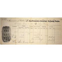 San Francisco Assaying and Refining  Assay Receipt. Successors to Kellogg & Hewston.