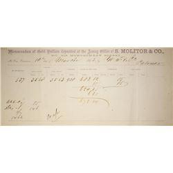California. Assay receipt of S. Molitor & Company a successor to the coining company of Wass, Molito