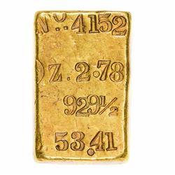 California. San Francisco. Undated Thomas Price & Co. Assayers Gold Ingot. No. 4152. 2.78 ounces. .9