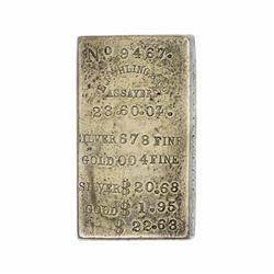 Nevada. Virginia City, Gold Hill, or Hamilton. E. Ruhling & Co. Gold and Silver Ingot. $22.63. VF.
