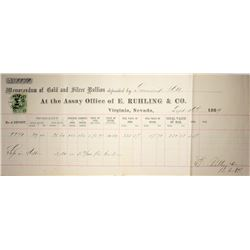 Nevada. Virginia City-Storey County. Ruhling & Company Memorandum of Gold and Silver Deposit Septemb