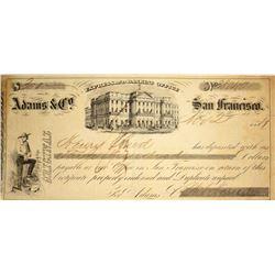 "California. San Francisco. Adams & Co. Express and Banking Office. ""Original"" Deposit Memorandum."
