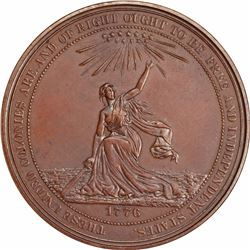 Four 1876 American Independence Medals in Two Sizes and Finishes. 49 mm: Bronze.
