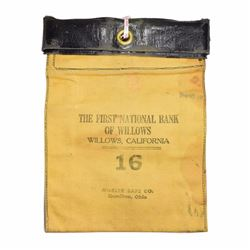 "California. Willows. First National Bank of Willows Locking Bank Bag. 11"" x 7 ½""."
