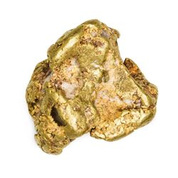 "California. Gold Nugget. 18.13 Ounces. About 2 1/8"" at its tallest, 1 1/8"" at its narrowest."