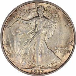 1917-D 50C. Obverse Mintmark. MS-64+ PCGS. CAC.
