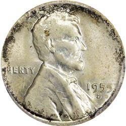 1955-S 1C. Cent on Silver Dime Planchet Mint Error. MS-62 PCGS.