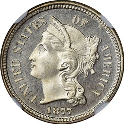 1877 3C. Proof-66 Cameo NGC.