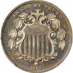 1867 5C. No Rays. Proof-64 CAM PCGS.