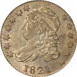 1821 10C. Large Date. JR-7. Rarity-2. AU-53 PCGS.