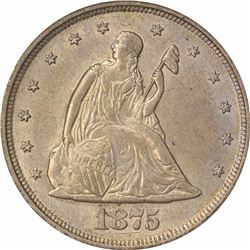 1875-S/S 20C. Repunched Mintmark, Misplaced Date. FS-302. MS-61 PCGS.
