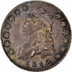1818 25C. Browning-2. Rarity-1. AU-58 PCGS.