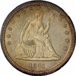 1841 25C. Doubled Die Obverse. FS-101. MS-62 NGC.