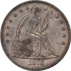 1872 $1. AU-53 PCGS. CAC.