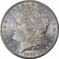 1880-CC $1. 8 Over High 7. MS-64 PCGS.