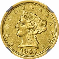 1845-O $2.50. AU-58 NGC.