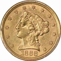 1868-S $2.50. MS-61 PCGS.