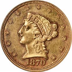 1870 $2.50. MS-61 PL NGC.