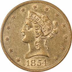 1854-S $10. AU-55 NGC.
