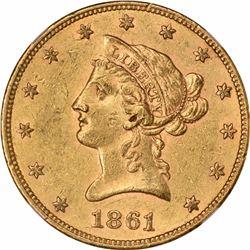 1861 $10. AU-58 NGC.