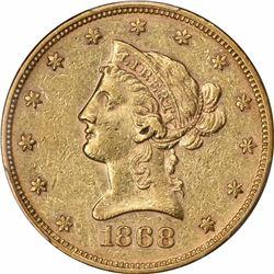 1868 $10. AU-53 PCGS.