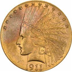 1911-D $10. MS-62 PCGS.