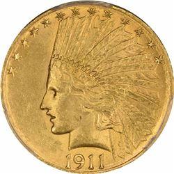 1911-S $10. MS-62 PCGS.