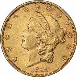 1860 $20. AU-58+ NGC.