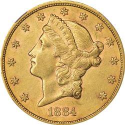 1884-CC $20. AU-55 NGC.