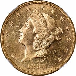 1897-S $20. MS-62 PL NGC.