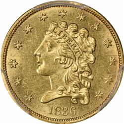 1836 G$2.5. Block 8. Tall 6. MS-62 PCGS.