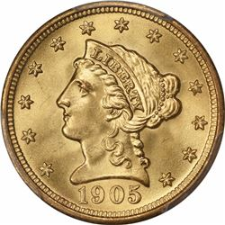 1905 G$2.5. MS-66+ PCGS. CAC.