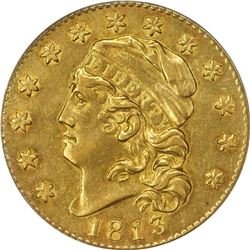 1813 G$5. BD-2. AU-50 PCGS. CAC.