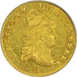 1801 G$10. BD-2. Rarity-2. AU-55 PCGS. OGH.