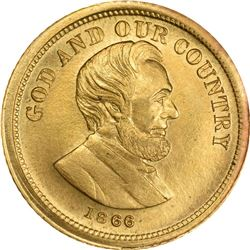 "1866 Merriam ""Pattern"" $3. Judd-C1866, Pollock-5080. Gold. Reeded Edge. Rarity-6+. Choice Uncirculat"