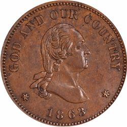 1863 Pattern Two-Cents. Judd-305, Pollock-370. Copper. Plain Edge. Rarity-4. Proof-64 BN PCGS. OGH.