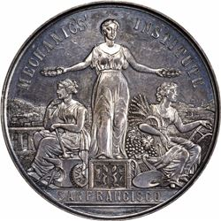 San Francisco. 1883 Mechanics Institute San Francisco Silver Medal. 49 mm. Named. AU or so.