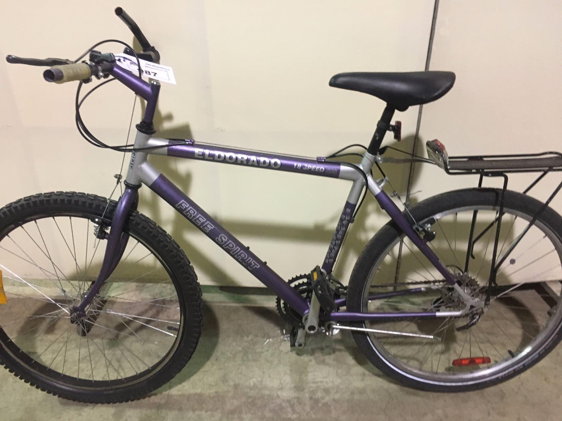 purple free spirit eldorado 18 speed mountain bike