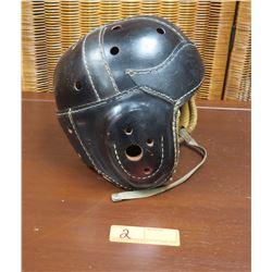 Vintage Black Leather Football Helmet (Airlite Cushion Rubber)