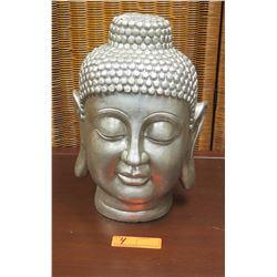 """Buddha Head Form, Ceramic, Approx. 14"""" H, 9"""" W"""