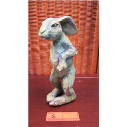 "Rabbit Ceramic Sculpture ""Grass is Greener"" by Joe Boddy, Approx. 9"" H, 3.5"" W"