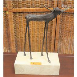 "Long-Legged Moose Sculpture by Jim Budish, Bronze Cast, Ltd. Ed. 56 of 250, 22""H, 12""W"