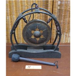 """Hanging Gong w/Black Wooden Stand and Circular Frame 12.5"""" W, 12"""" H"""