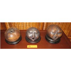 """Qty 3 """"Meditation Faces"""" Sculptures by Marilyn Holland, Each approx. 6"""" to 7"""" Tall"""